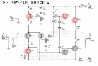 mini amplifier with high power output audio schematic pinterest rh pinterest com 500 Watts Car Audio Amplifier Circuit Diagram Audio Power Amplifier Circuit Diagram