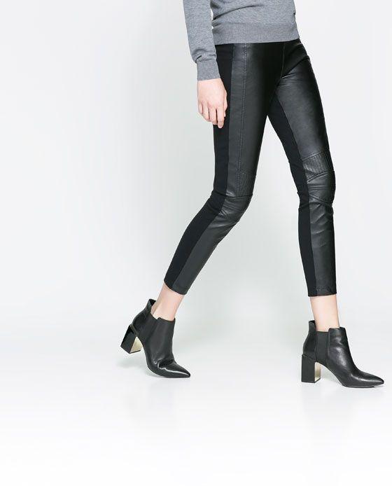 Leather leggings ideas  $49.90 MOTORBIKE LEGGINGS from Zara