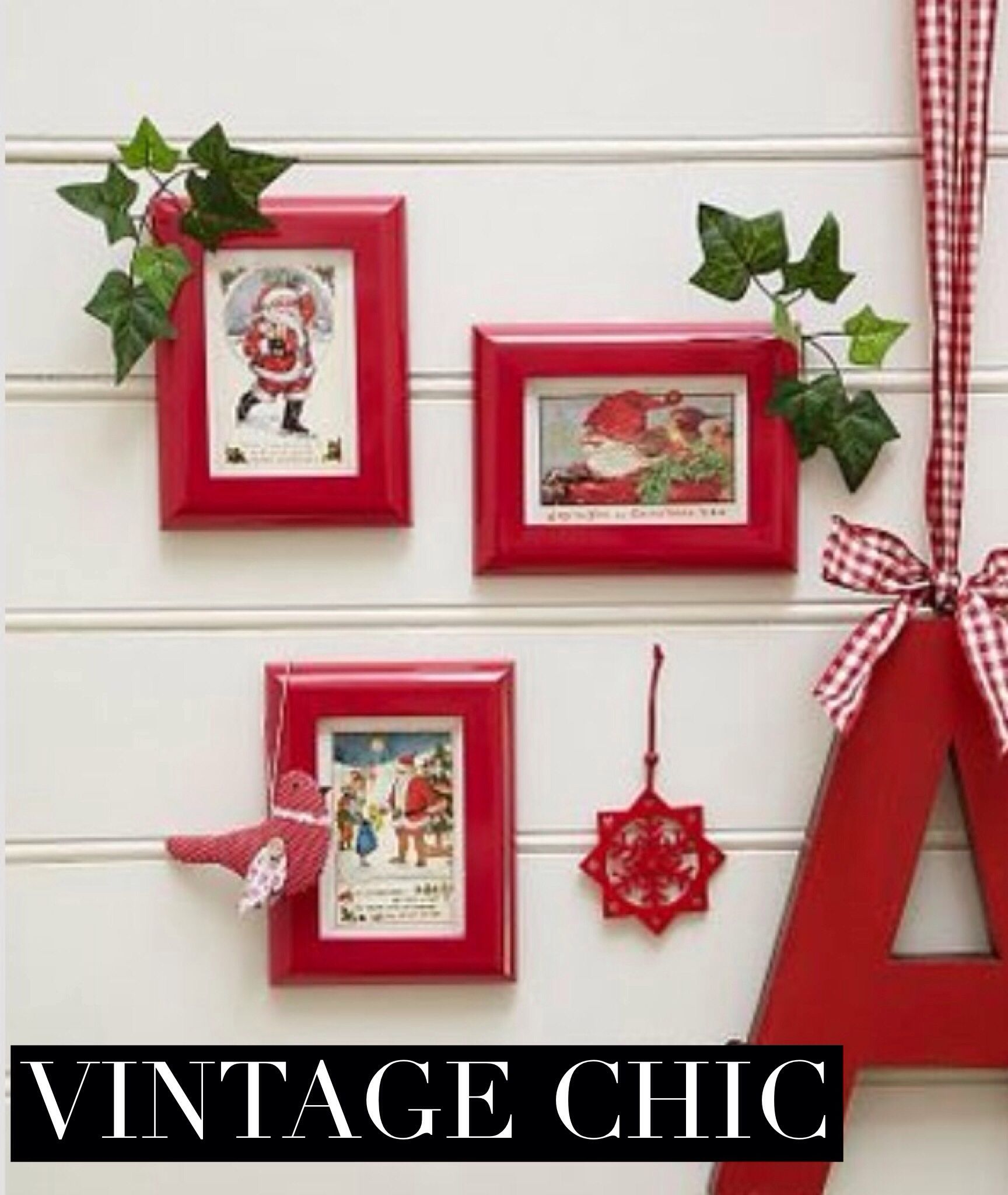 DIY: Frame vintage Christmas cards in wide red frames for easy ...