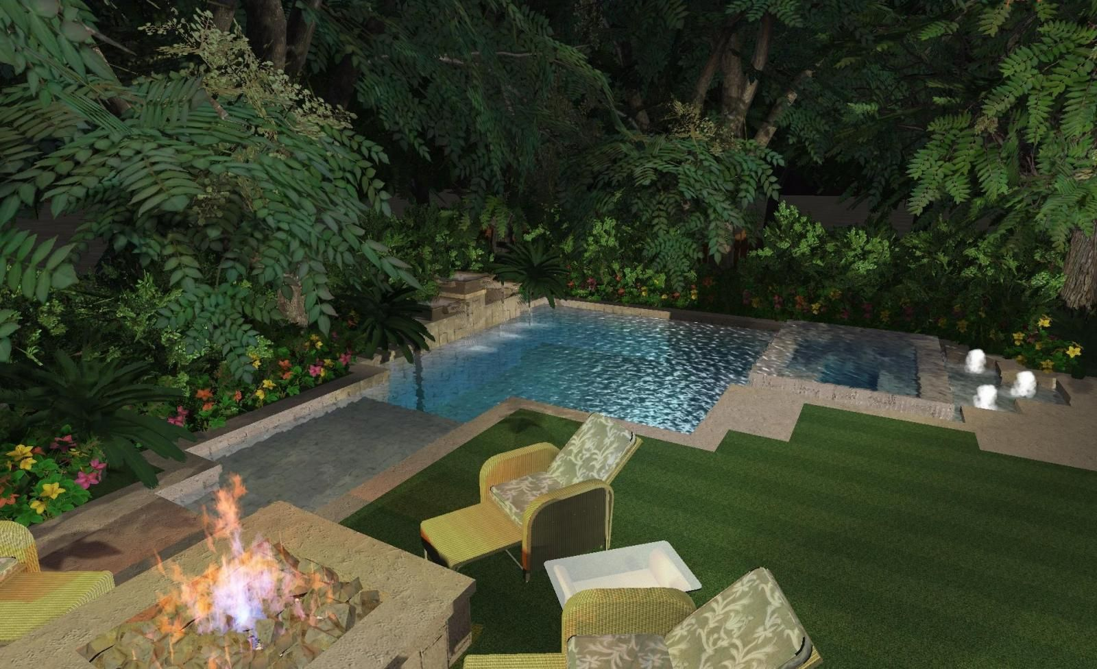 Pools for small yards small yard nice corner pool for Pool design small yards