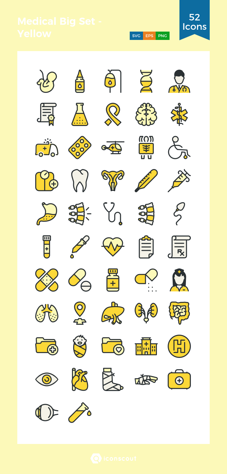 Download Medical Big Set Yellow Icon Pack Available In Svg Png Eps Ai Icon Fonts Icon Pack Icon Font Icon