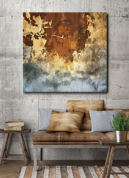 Brown, Cream, Grey, Large, Abstract, Grunge, Industrial, Canvas Art, Wall  Art, Canvas Print,