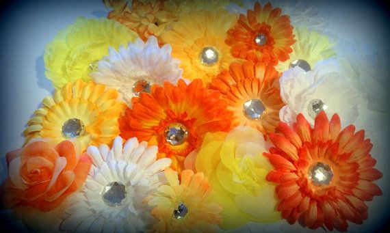 25  Mix Sunshine Assorted Flower Heads2555 by flowerlayers on Etsy, $13.99