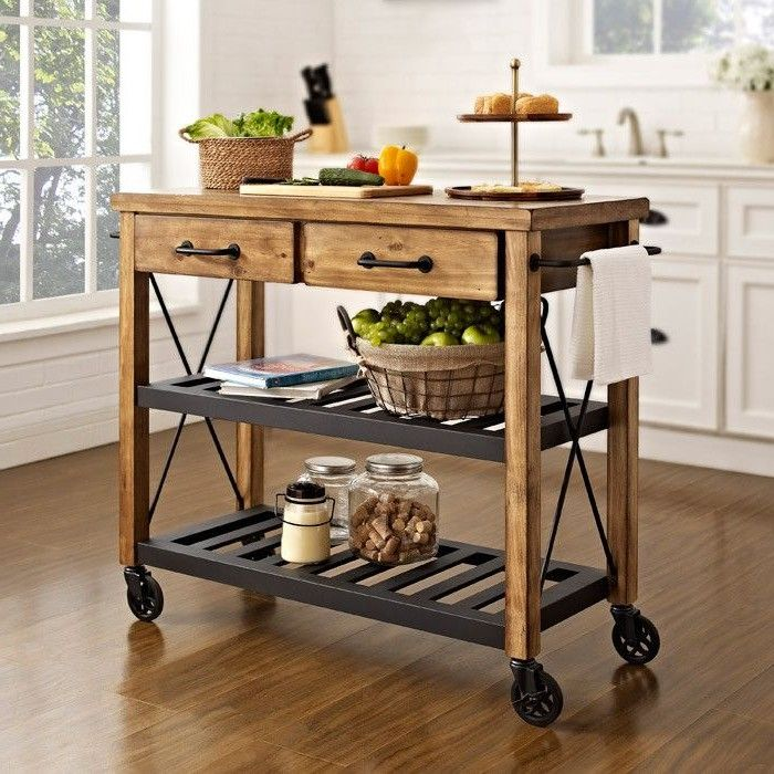 Roots Rack Natural Industrial Kitchen Cart Crosley: Can't Find The DIY For This, But It Doesn't Look Too Hard