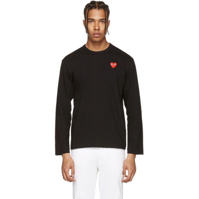 White and Black Long Sleeve Heart Patch T-Shirt Comme Des Garçons Low Shipping Fee AsWAR