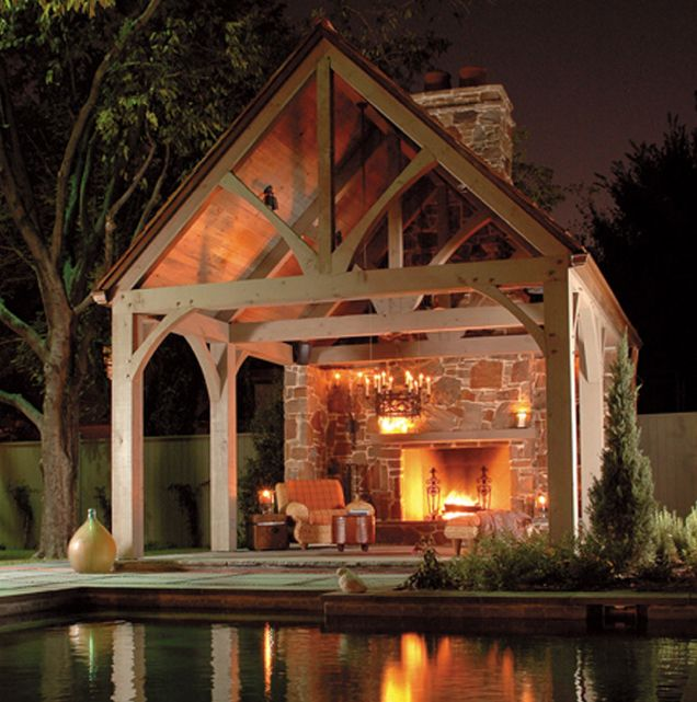 Stone Fireplace Next To The Outdoor Kitchen And A Lovely: Gabled Roof Pavilion With Fireplace.