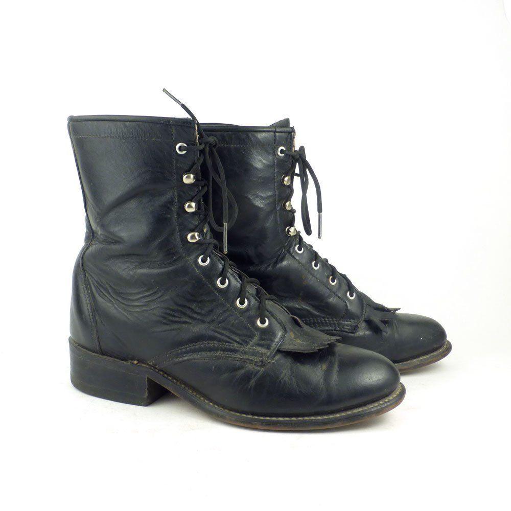 de91a42f1c3f8 Roper Boots Vintage 1980s Laredo Boots Leather Black Boots Granny ...