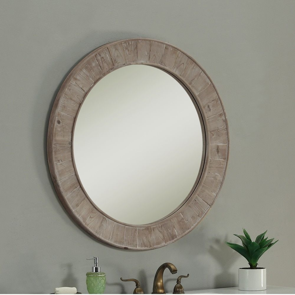 Rustic Style 35 Inch Round Wall Mirror Brown N A Medium
