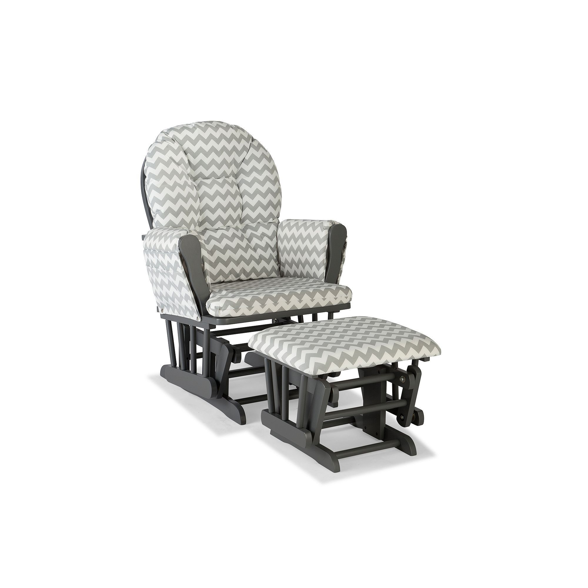 Stork Craft Chevron Hoop Custom Glider Chair And Ottoman Set, Grey, Durable