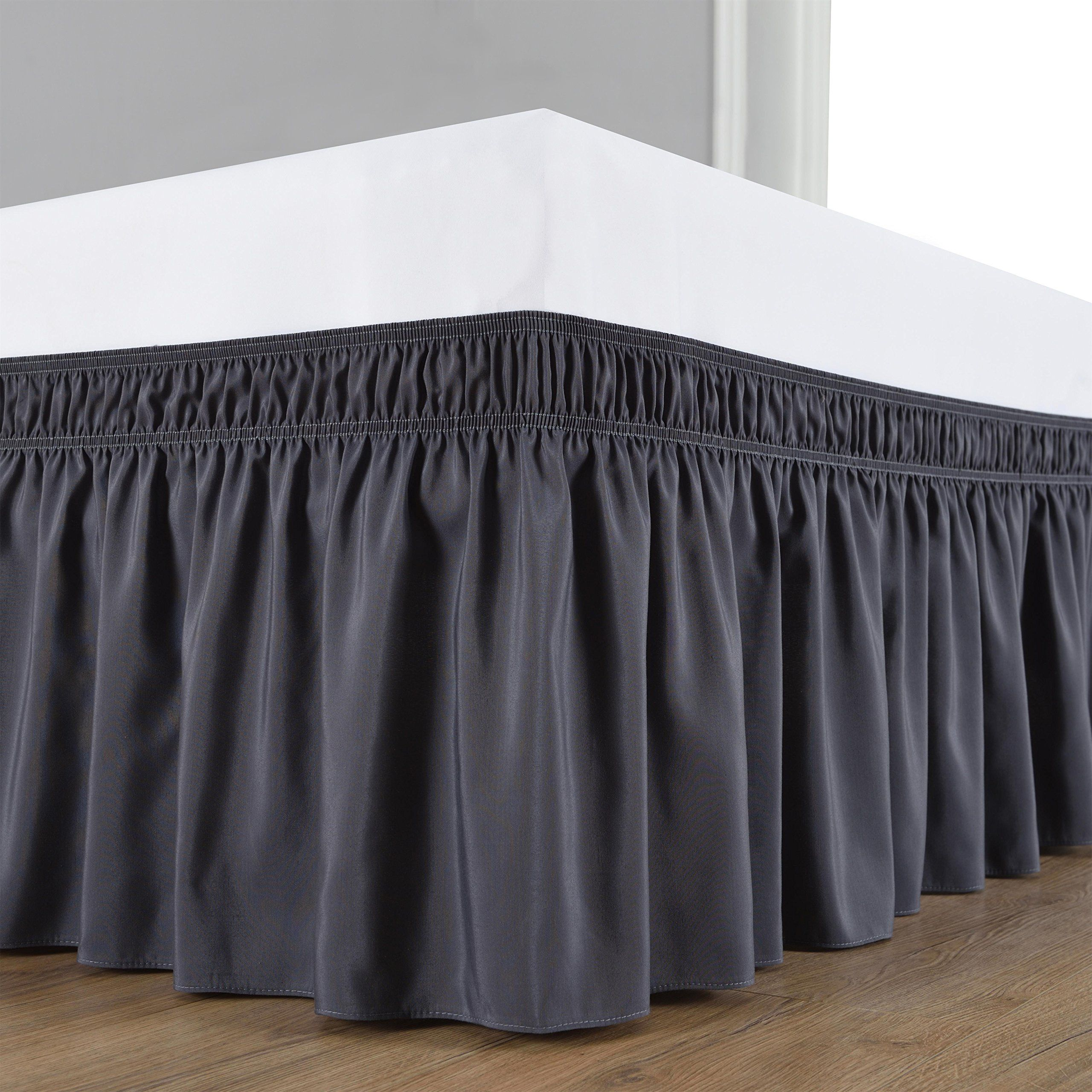 wrap around bed skirt elastic dust ruffle easy fit wrinkle and fade