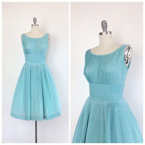 952a785f69 50s Light Blue Cotton L aiglon Day Dress   1950s Vintage