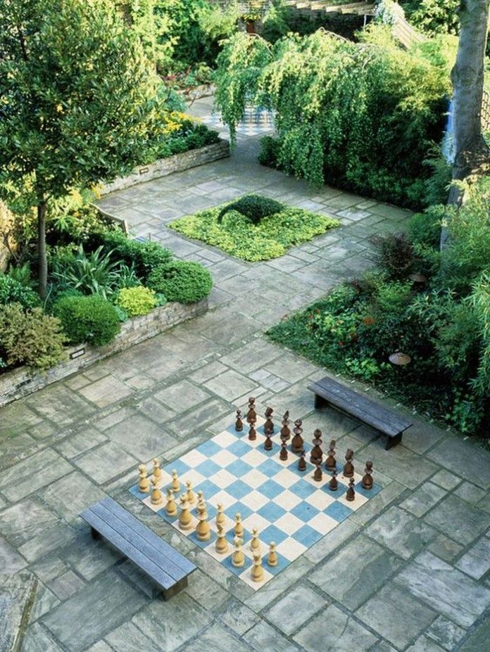 Painted Concrete Outdoor Chess Board