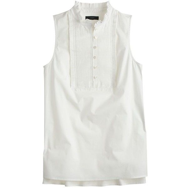 J.Crew Petite Pleated Bib Top (140 BRL) ❤ liked on Polyvore featuring tops, sleeveless tops, petite, petite tops, cotton tank tops, petite cotton tops, ruffle top and j crew tank