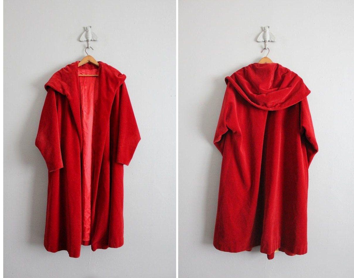 Final sale / 1930s vintage red velvet hooded coat   Red velvet and ...