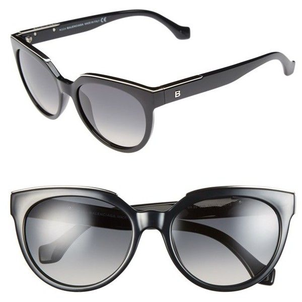 Women's Balenciaga Paris 55mm Sunglasses ($440) ❤ liked on Polyvore featuring accessories, eyewear, sunglasses, glasses, balenciaga, metallic sunglasses, retro sunglasses, retro style sunglasses and cat eye glasses