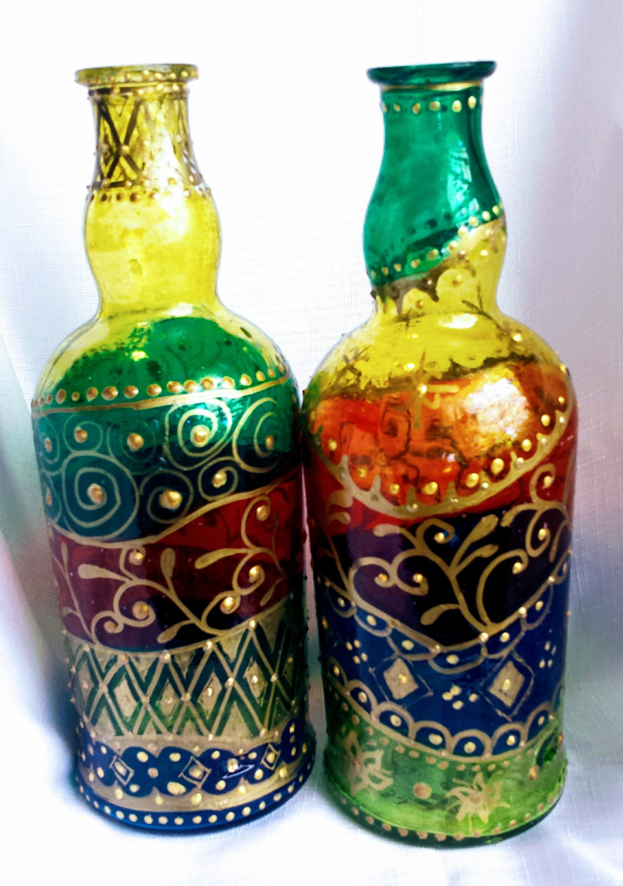 Glass Bottles Decorative Hand Painted Sealed Glass Bottlesdecorative Decanteroil Bottle