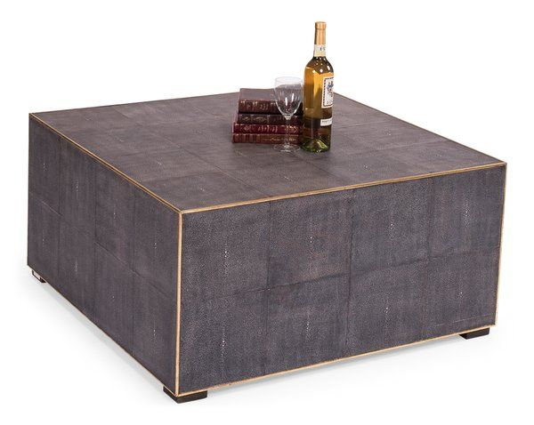 Midnight Coffee Cocktail Table Leather Embossed New Free Ship