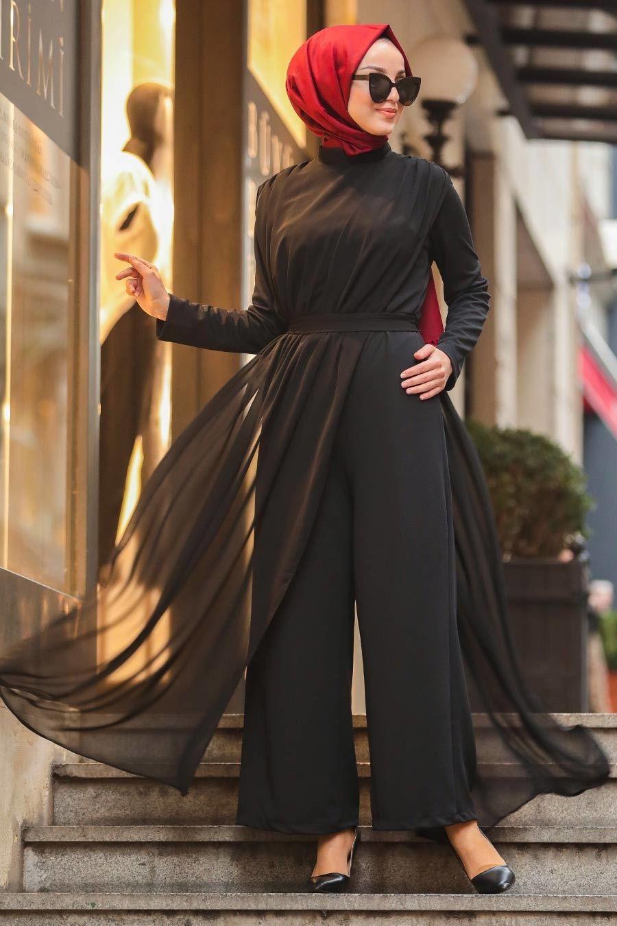 Tesetturlu Abiye Elbise Tullu Siyah Tesettur Abiye Tulum 51182s Tesetturisland Com 2020 Elbise Tulum Moda Stilleri