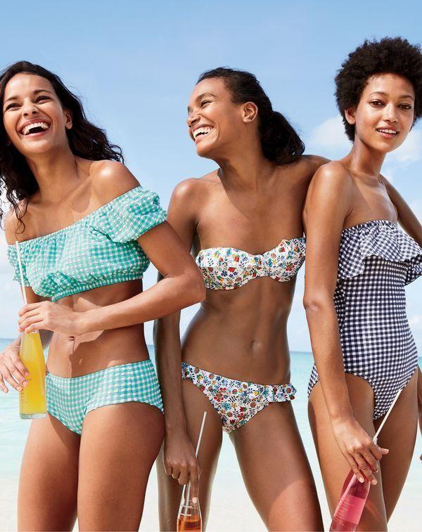 84080fe551 J.Crew women s gingham off-the-shoulder swim top