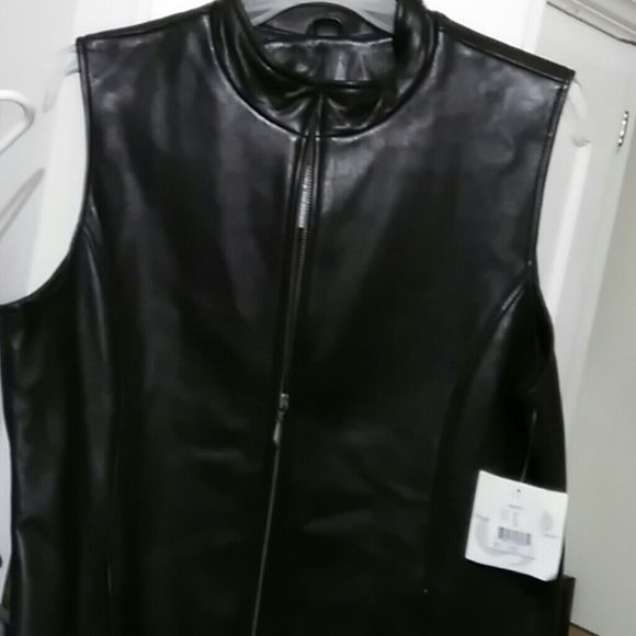 Preswick & Moore leather vest Gorgeous soft black leather..zip front..longer length..NWT and flawless Preswlck & Moore Jackets & Coats Vests