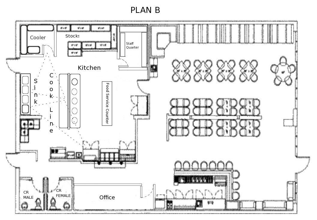 Small restaurant square floor plans every restaurant for Square kitchen layout