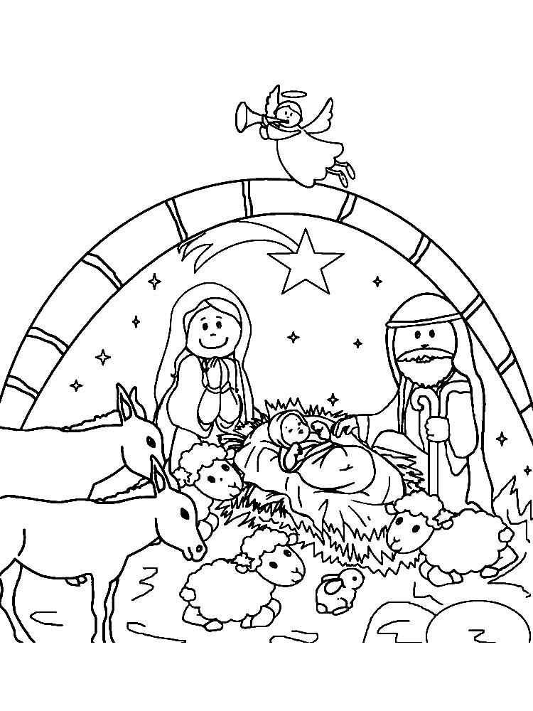 Nativity Coloring Pages Nativity coloring pages, Merry