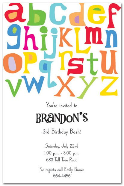 Abc Invitation Parties Pinterest Abc Birthday Parties