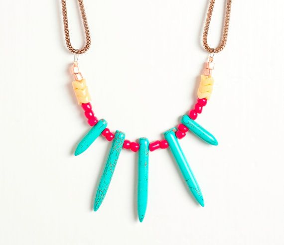 New  Turquoise Spike Necklace with Seed and by DeuceFashion, $34.00