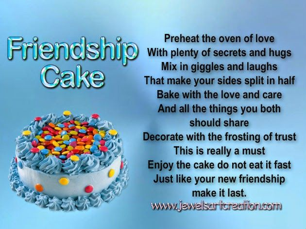 Friendship cake recipe poem