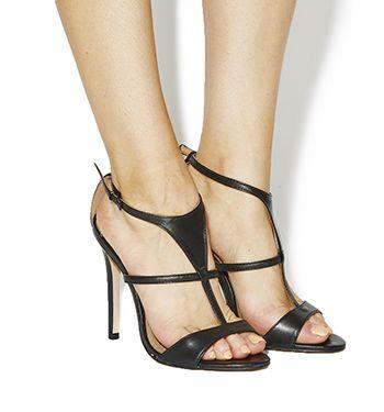 Office Treat Single Sole T Bars Womens High Heels Black Leather