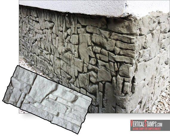 Original Silicone Stamp Vertical Stamped Concrete Decorative Ledgestone Veneer Design Vertictal Stamps Pattern Mold Stone Rock Diy Concrete Decor Stamped Concrete Stamped Concrete Patterns