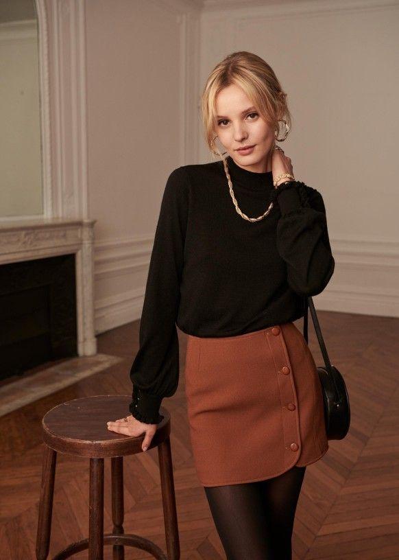 Leslie Skirt - Coffee - Organic Cotton - Sézane