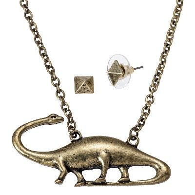 Dinosaur Necklace & Pyramid Earrings - Gold : Target Mobile