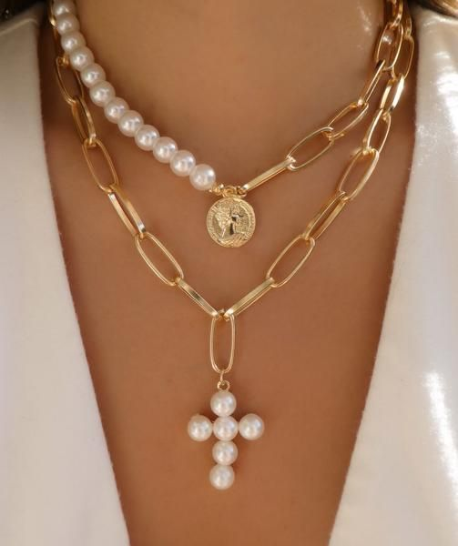 Pearl Cross Necklace Set