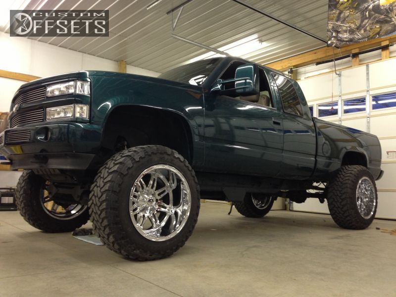 Wheel Offset 1997 Chevrolet C K 1500 Series Super Aggressive 3 Suspension And Or Body Lift 9 Custom Rims Lifted Chevy Trucks Chevy Trucks Chevrolet