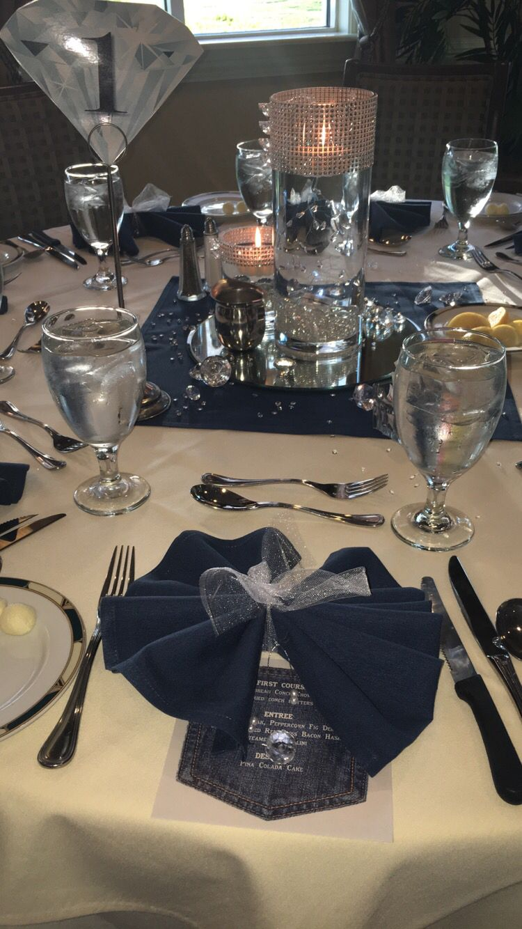 Bow tie napkins with white toole pinteres for Denim centerpieces