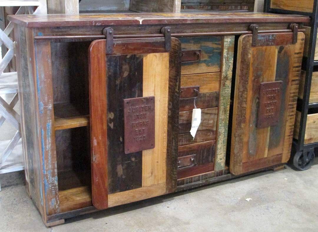Reclaimed wood sideboard with sliding doors the rustic iron reclaimed wood sideboard with sliding doors the rustic iron plaque on the front reads vtopaller Gallery