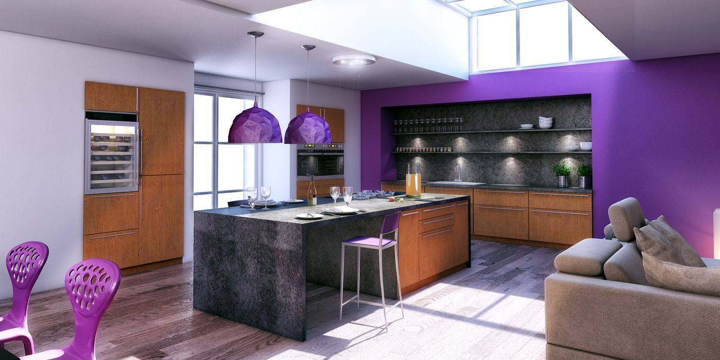 Cuisine Design Avec îlot Central Couleur Violet. (Cuisines Charles Rema    Modèle Brauteuil)
