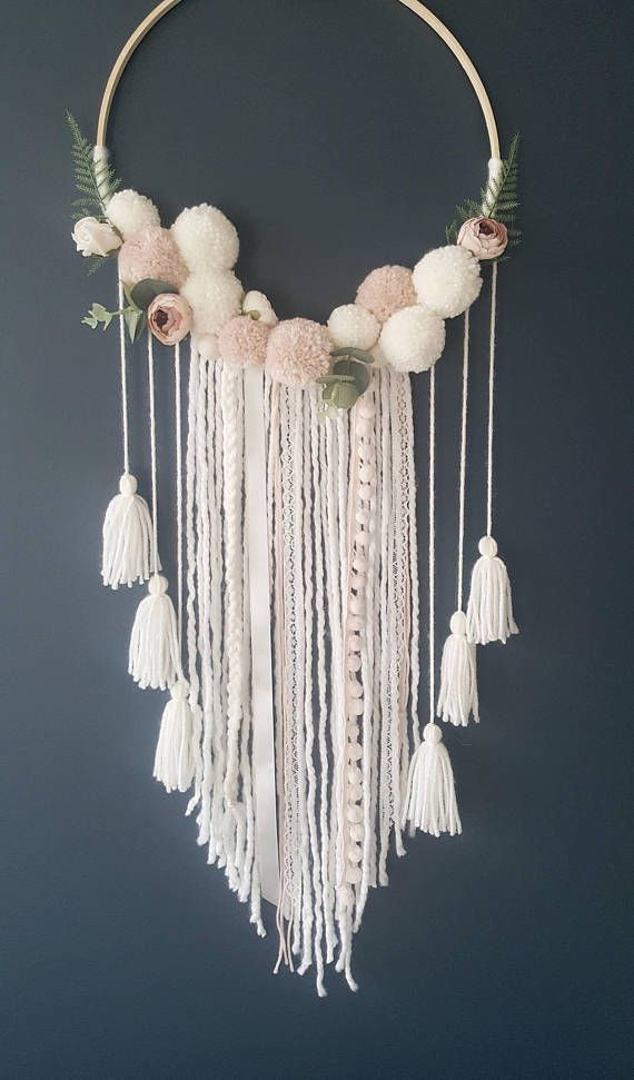 Boho Dreamcatcher - Custom To Order Make your wall beautiful with this soft and boho dreamcatcher! Perfect for any room! The base is a natural wood hoop made of artificial flowers and pom poms. The extensions are a variety of cream ribbon, peachy wool and lace. Size guide: