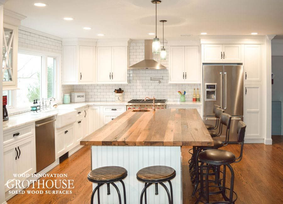terrific wood countertop white kitchen island | Pin by Grothouse on Wood Countertop Blog in 2019 | Wood ...