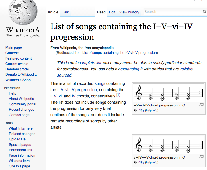 List Of 4 Chord Pop Songs That Use The I V Vi Iv Progression Ukes