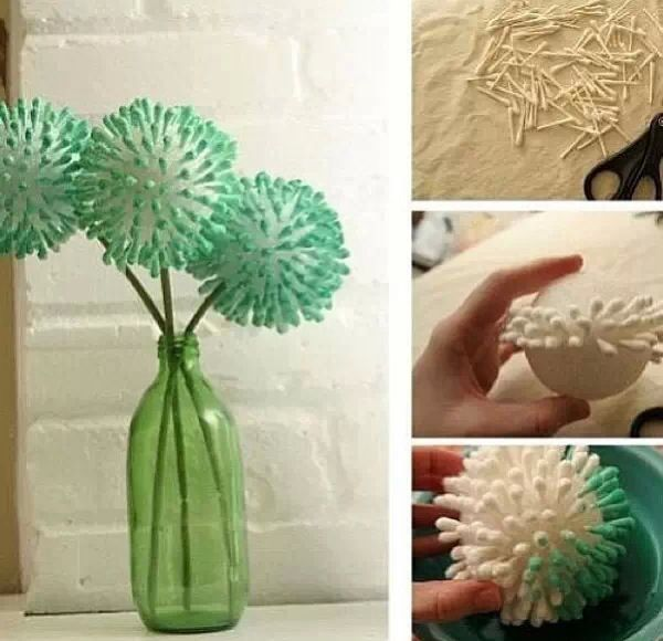 how to make fashionable decorations from q-tips