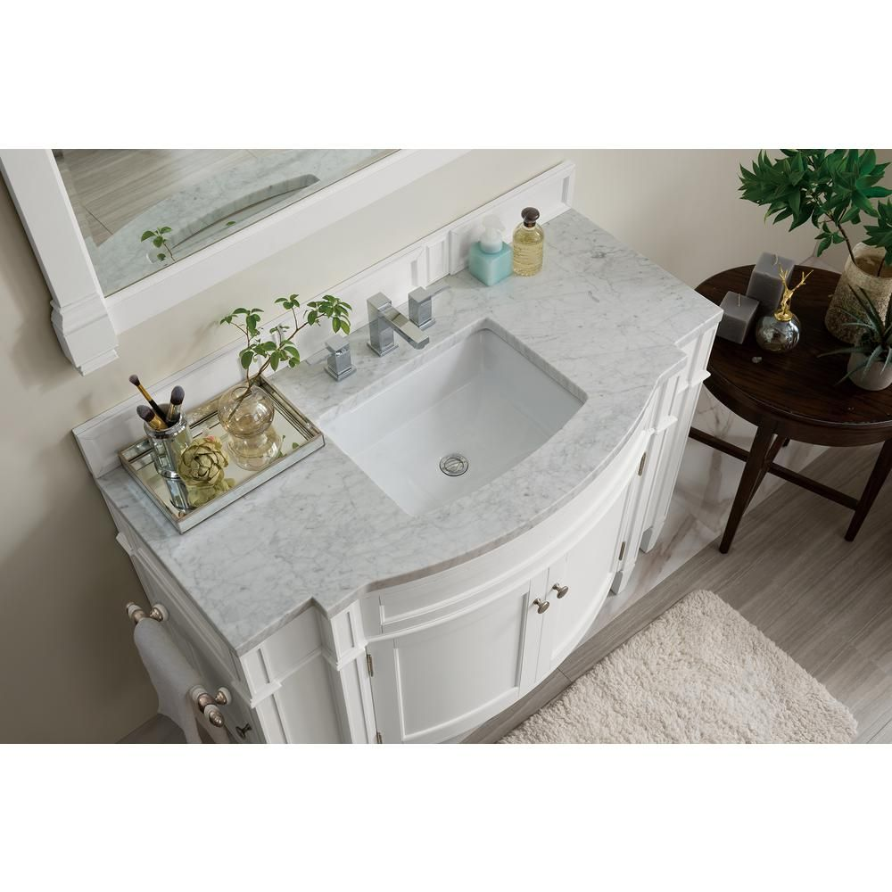 James Martin Vanities Brittany 46 In W Single Bath Vanity In Cottage White With Marble Vanity Top In Carrara White With White Basin 650v46cwh3car The Home De Single Bathroom Vanity Marble