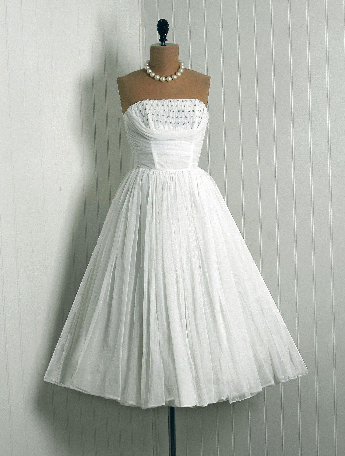 Rockabilly wedding dresses  us Vintage IvoryWhite Ruched by TimelessVixenVintage on Etsy