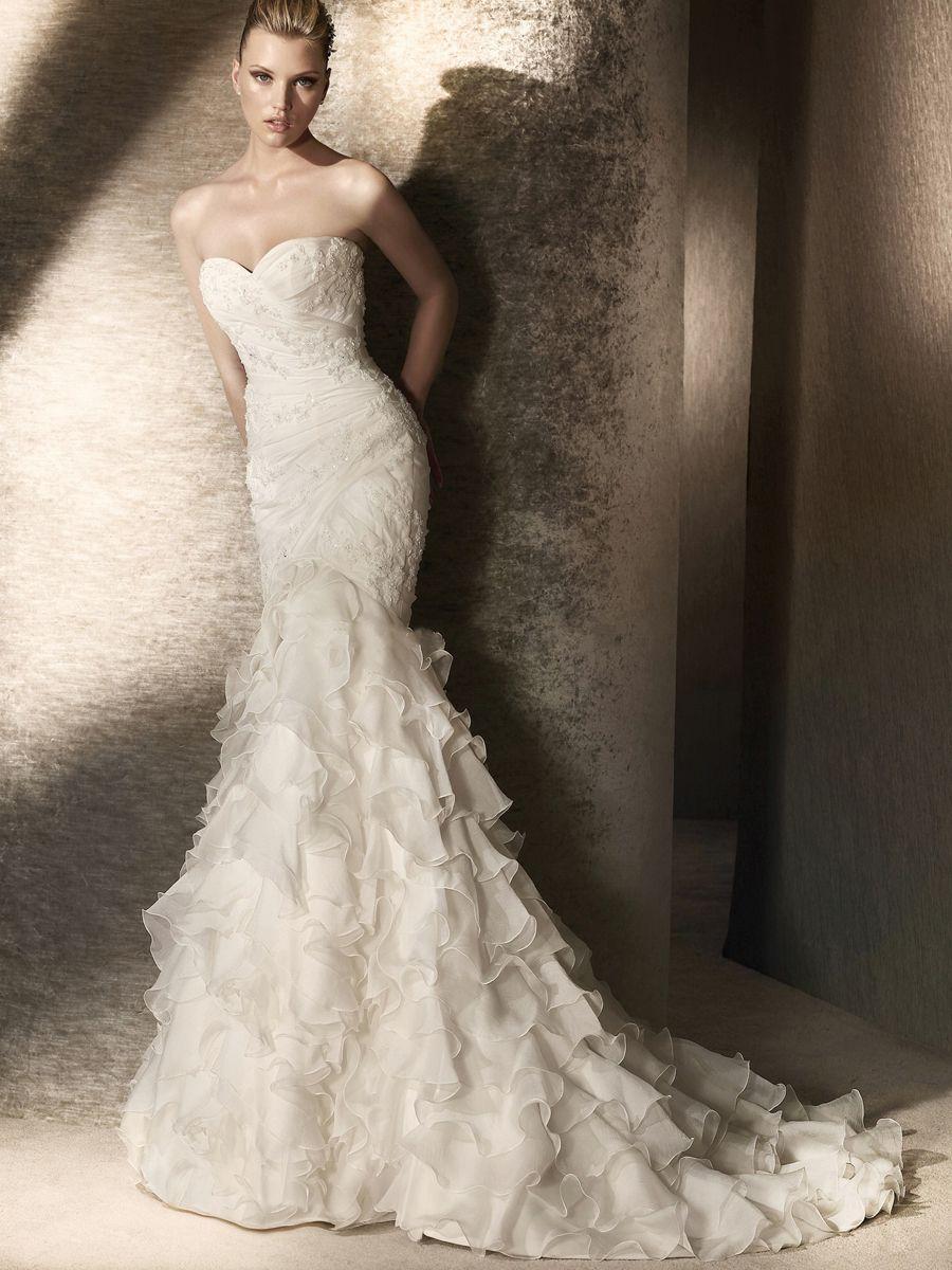 Graceful Organza Sweetheart Neckline in Mermaid Style Wedding Gown ...