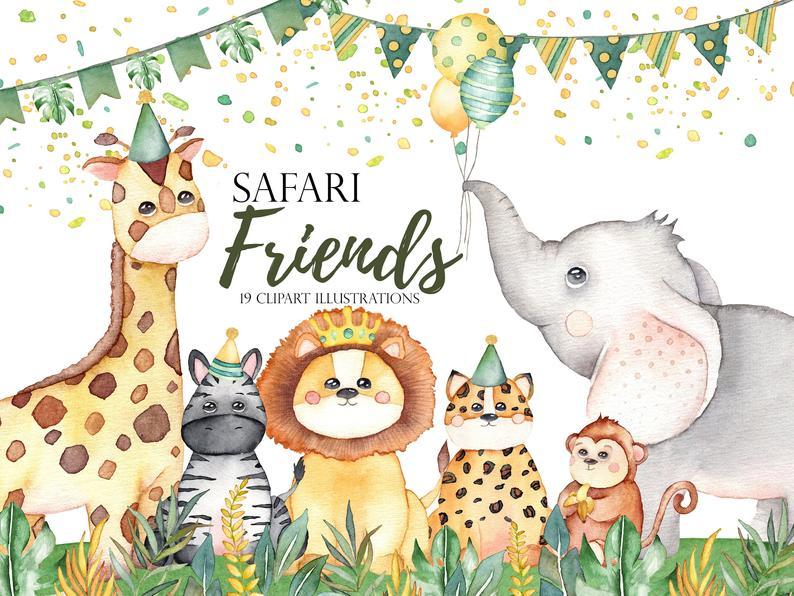 Watercolor Safari Animals Watercolor Clipart Jungle Animals Etsy Safari Zhivotnyh Koshachij Uzor Safari
