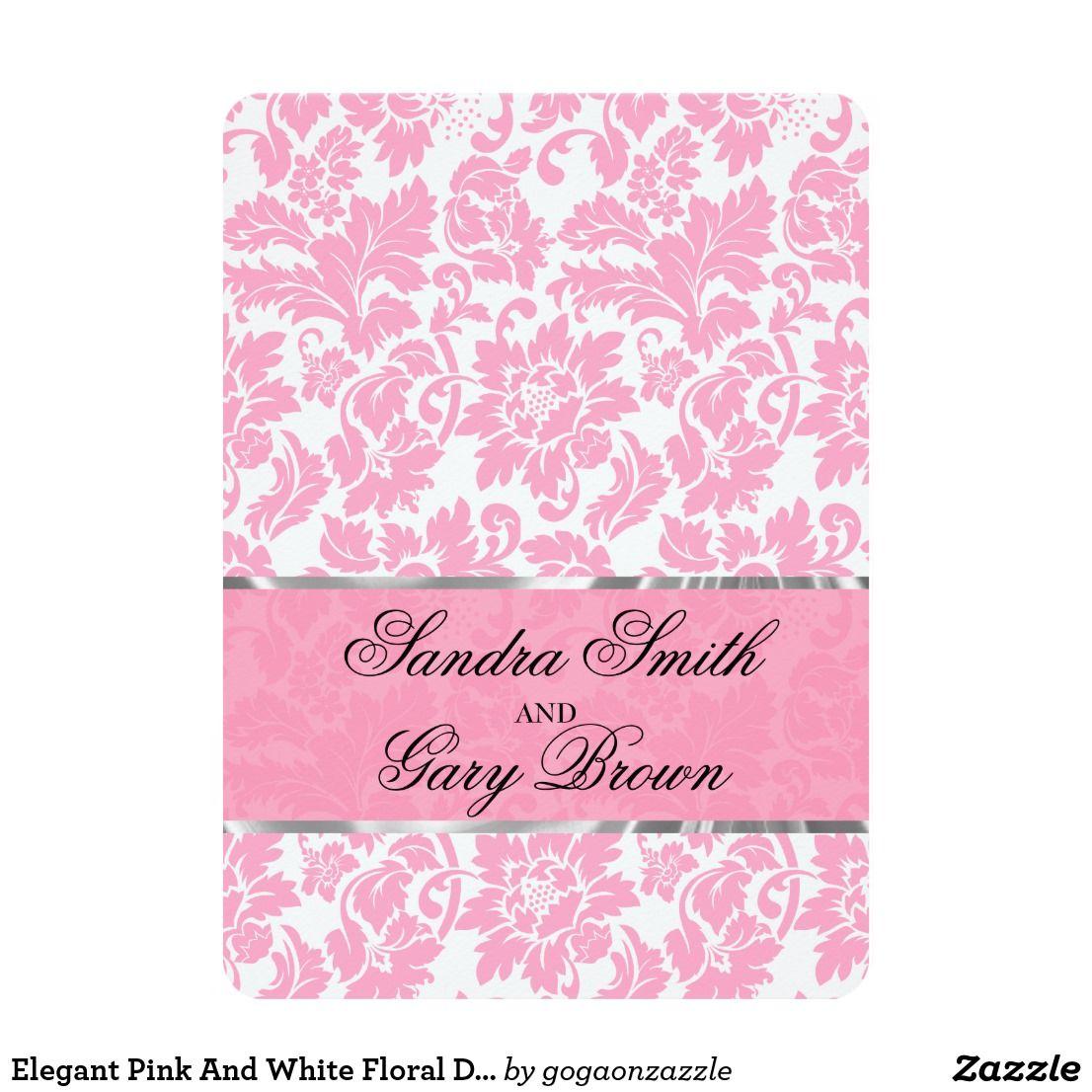 Elegant Pink And White Floral Damas Wedding Invite   Pink Wedding ...