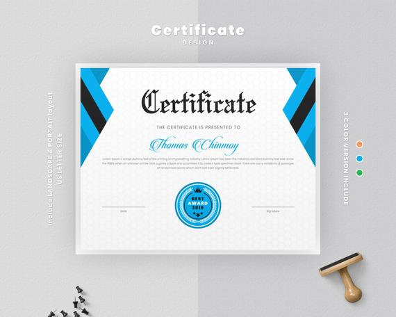Modern Certificate Template Instant Download Certificate Layout Graduation Certificate Elegant School Diploma Certificate Certificate Templates Certificate Layout Templates