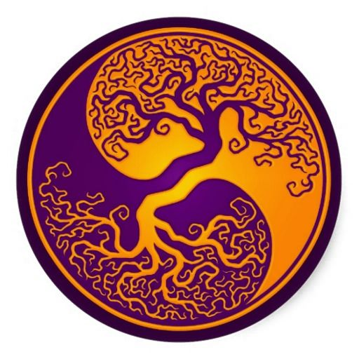 Golden Purple Tree of Life Yin Yang Classic Round