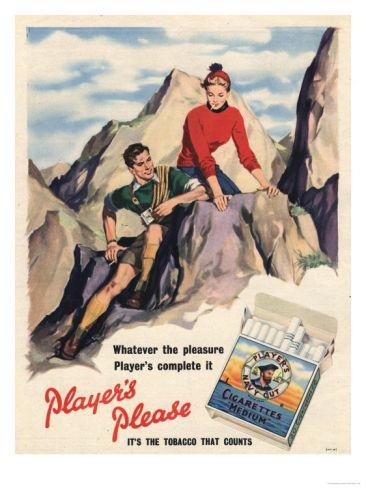 Playeru0027s Navy Cut, Cigarettes Smoking Mountain Climbing, UK, 1950 - character reference template uk